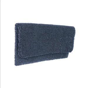 Moyna beaded clutch in matte black